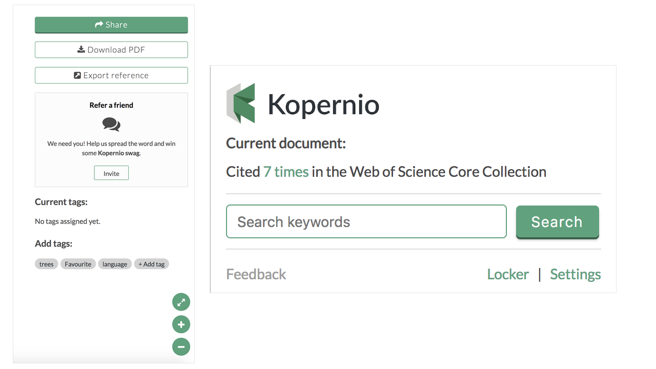 Kopernio - sharing and citation counts