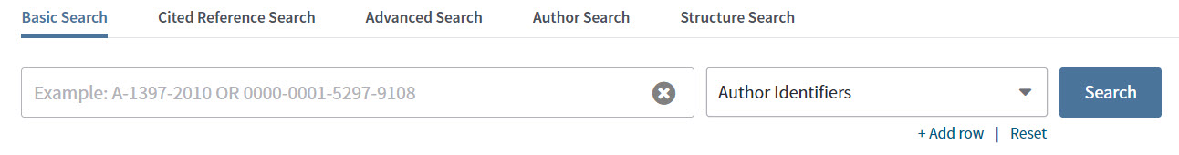 Search Web of Science by Author Identifiers
