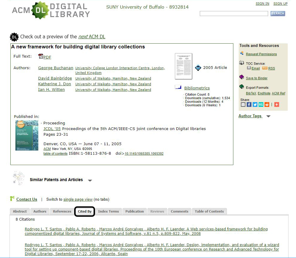 Screenshot of ACM Digital search.