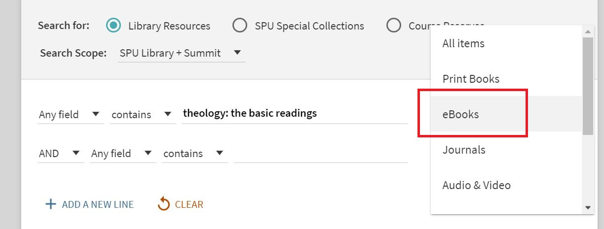 Screenshot shows Advanced search screen with search boxes and Material Type dropdown with eBooks highlighted.