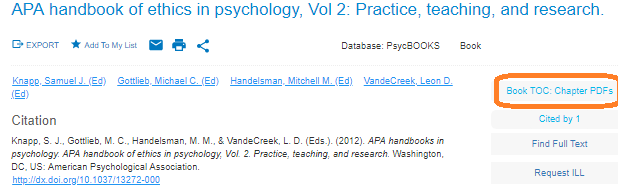main page for APA Handbook of Ethics in Psychology, showing Book TOC/Chapter PDF links on top right of page