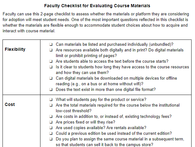 Faculty Checklist for Evaluating Course Materials