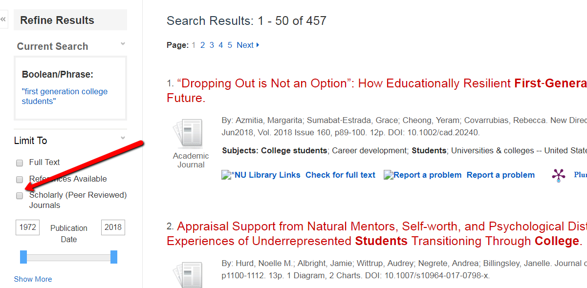 Screenshot of search results highlighting scholarly/peer reviewed filter to left of results