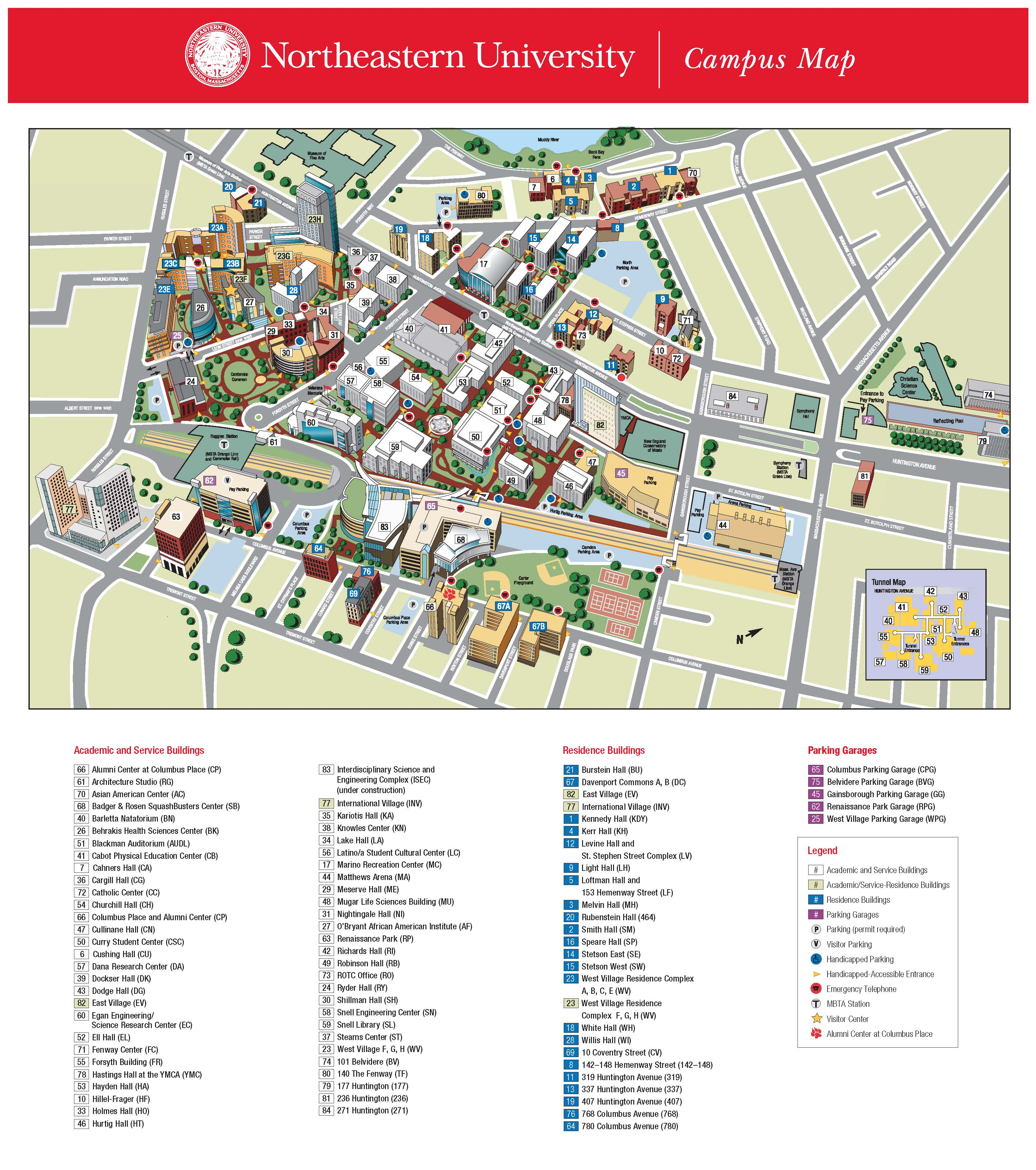 Campus Map Displying campus buildings including Ell Hall, Curry Student Center and Blackman Auditorium