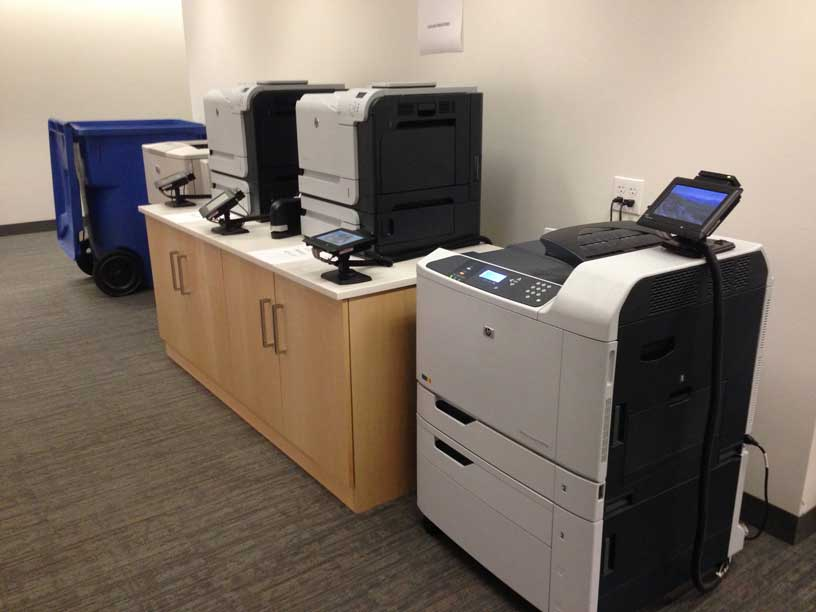 Color and black and white printers located on the second floor of Snell LIbrary