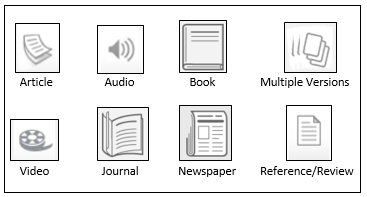Various format icons that appear in Search It
