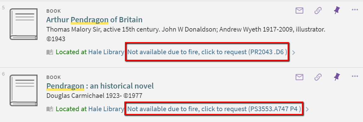 "Items with status of ""not available due to fire, click to request"""