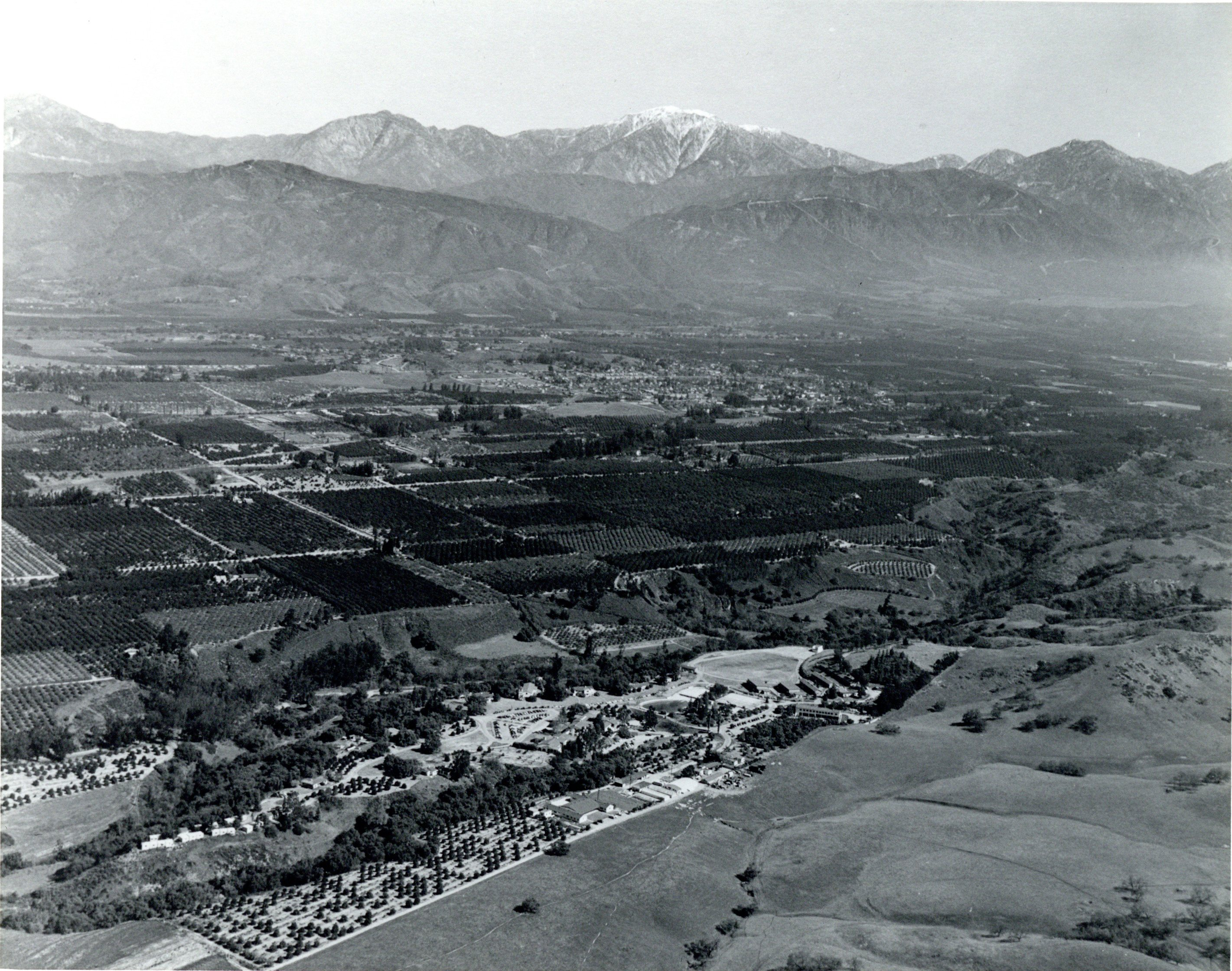 Ariel view of a portion of the Pomona Valley looking North to North East