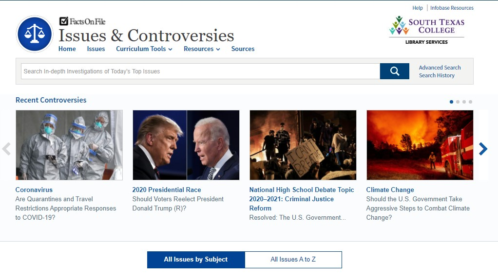 Issues and Controversies homepage