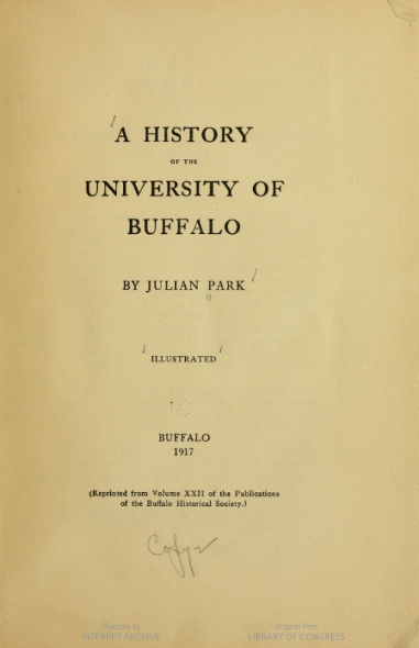 Park A History of the U of Buffalo Title page