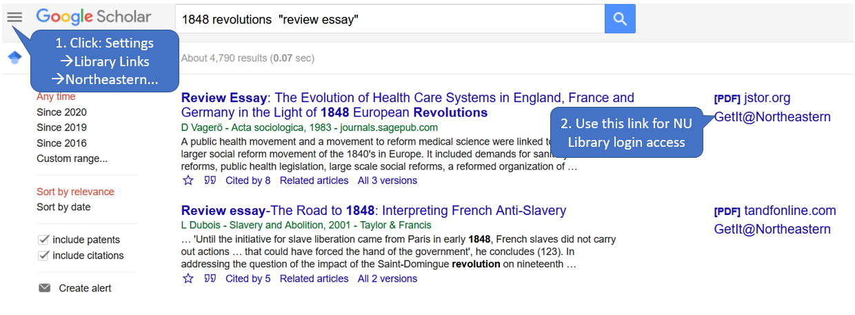 REview essay in Google Scholar, with links