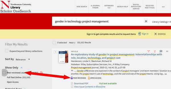 Peer reviewed filter in Scholar OneSearch