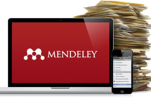 Mendeley logo on pc and phone