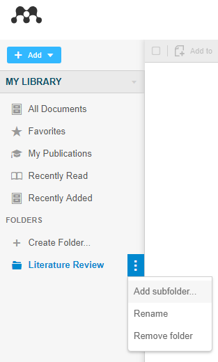 add subfolder mendeley online screenshot
