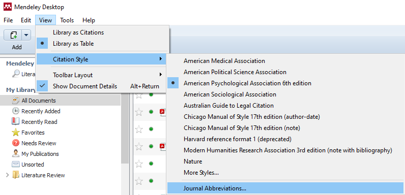 journal abbreviations menu screenshot