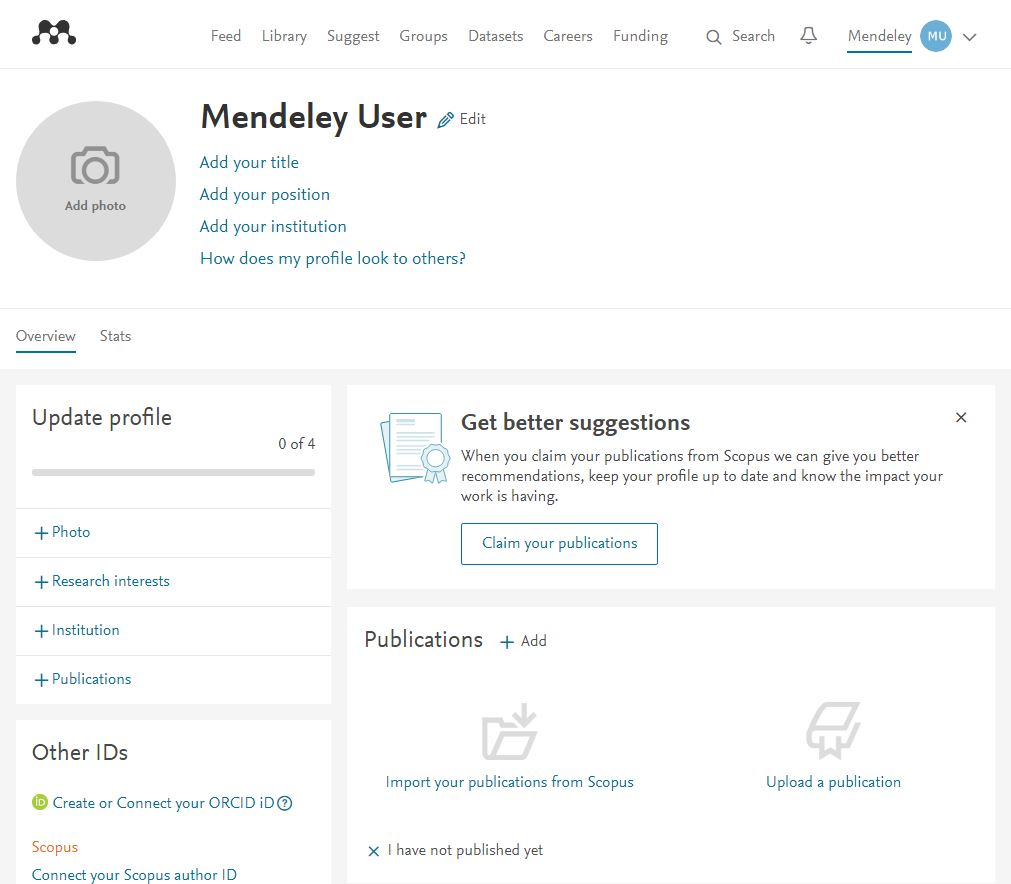 new user profile page screenshot