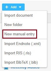 mendeley online new manual entry