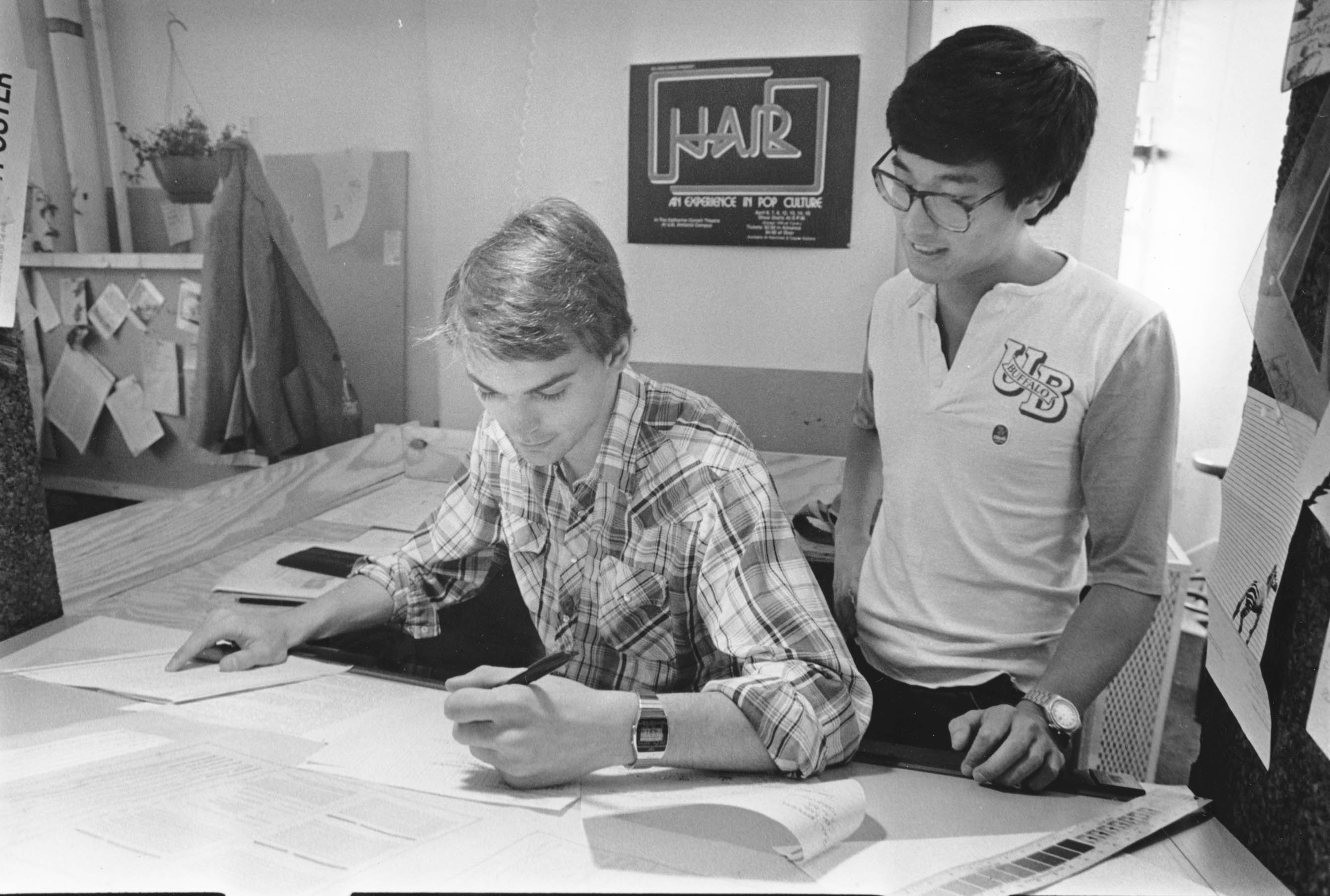 Students in the Student Association office, circa 1980s