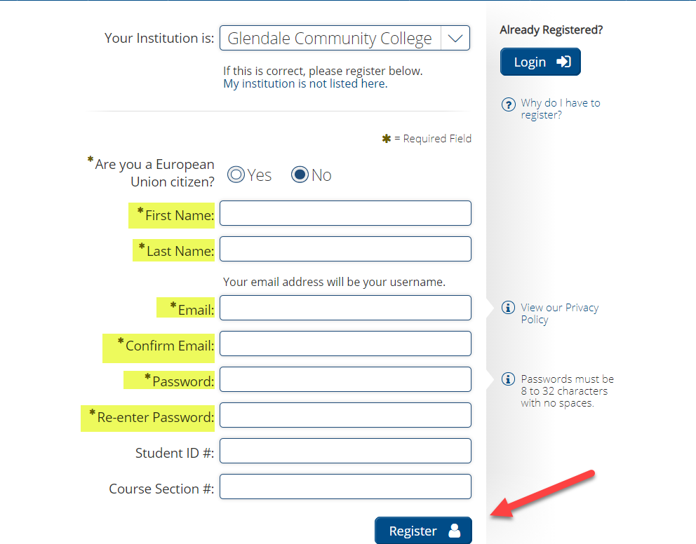 Learning Express registration page