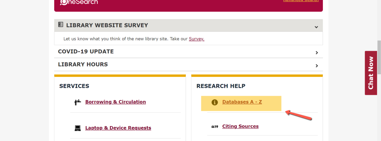 Screenshot of databases A-Z list