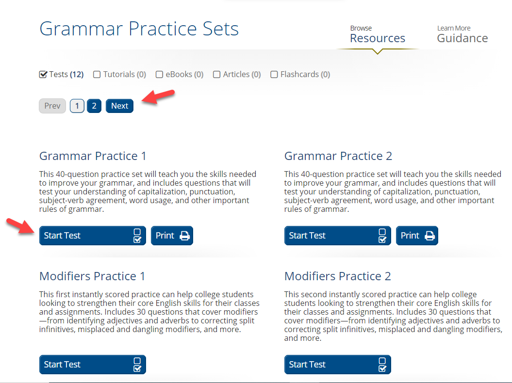 Grammar practice sets get started