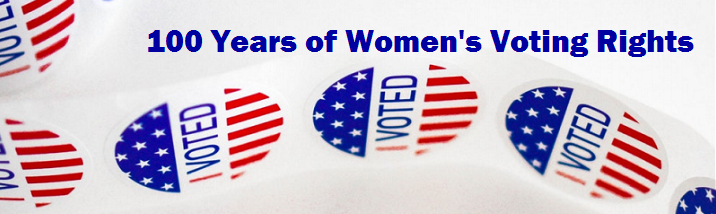 "Photo of ""I Voted"" stickers with text: 100 Years of Women's Voting Rights"