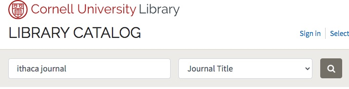 library catalog search for journal title