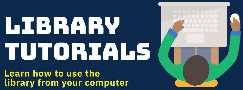 Library Tutorials Logo with person at keyboard