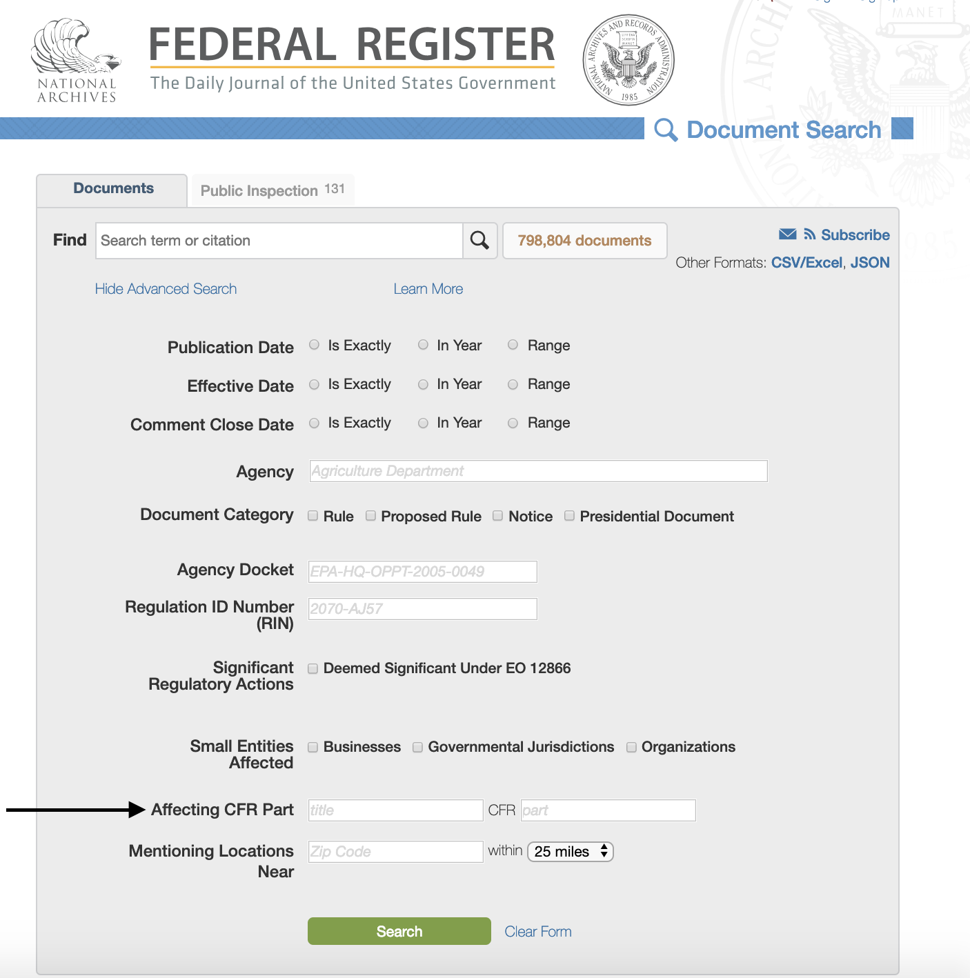 "Federal Register advanced search page which offers option to search ""affecting CFR part"""