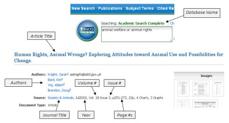 Interpret citation of a journal article