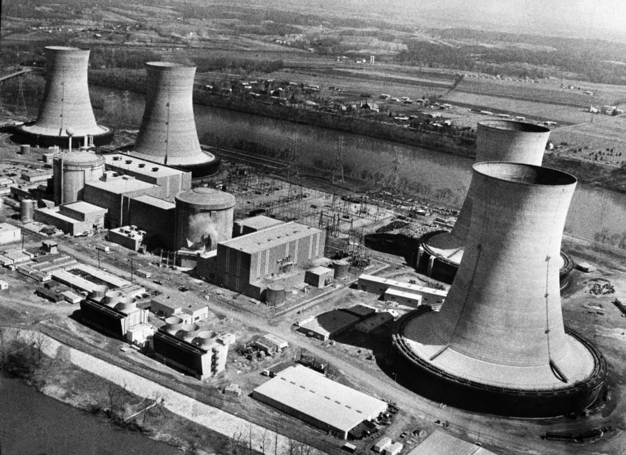 Three Mile Island nuclear power plant the day of its historic meltdown
