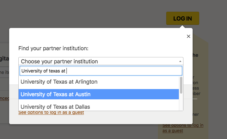 Image of drop-down menu listing names of participating intstitutions, required for login to database