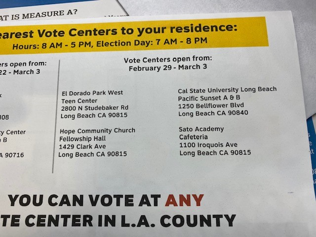 Picture of voting places in Long Beach