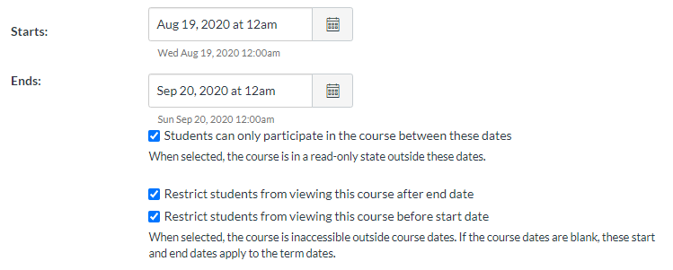 "Image of the ""dates and settings"" portion of the Course Details page."