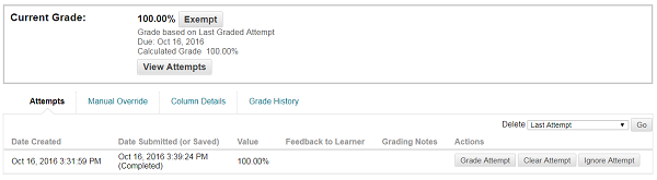 Screen Shot: Grade history within a cell in Grad Center