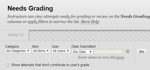 Screen Shot: Filtering and Sorting options in Needs Grading