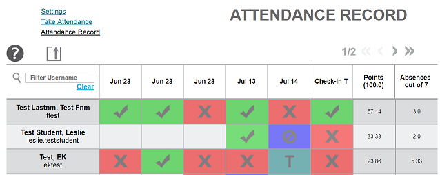 Screenshot of the Attendance Record screen within Qwickly Attendance, showing a list of students and their presences and absences by date.