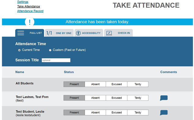 Screen Shot of the Take Attendance screen within Qwickly Attendance