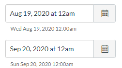 Image of the Start and End date boxes with date values in them.