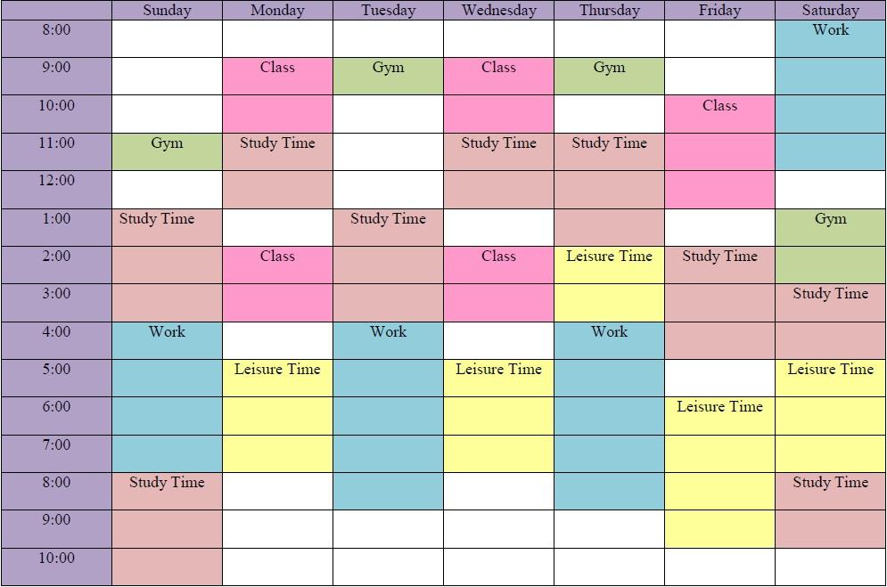 Weekly Schedule Grid (Example)