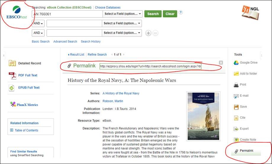 EBSCOhost Ebooks interface showing permalink