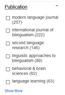 Publication filter in Engine Orange showing the list of journals represented in the search results