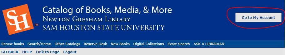 my account button in library catalog