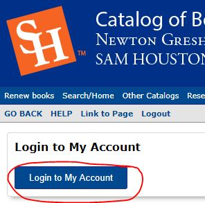 account login button in library catalog