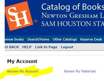 review my account option in library catalog