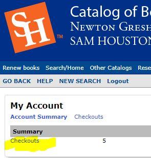 account summary in library catalog