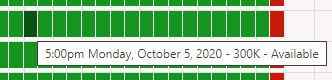 select a green square for your reservation start time