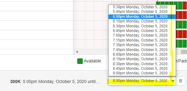 select the reservation end time in the drop-down at the bottom of the screen