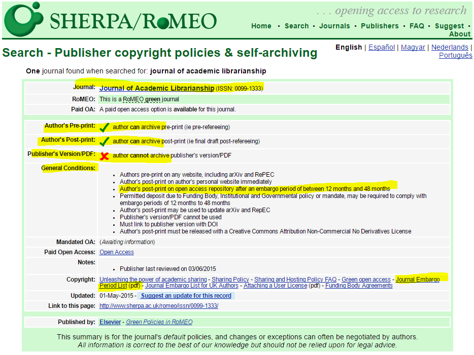 screenshot of SHERPA/RoMEO results page