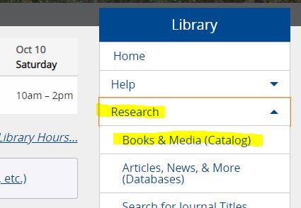 catalog link in library main menu